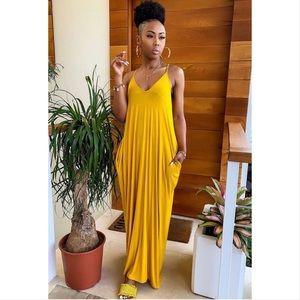 🏆 LAST 1☝🏾Pocketed Harem Maxi Dress Mustard 🏆